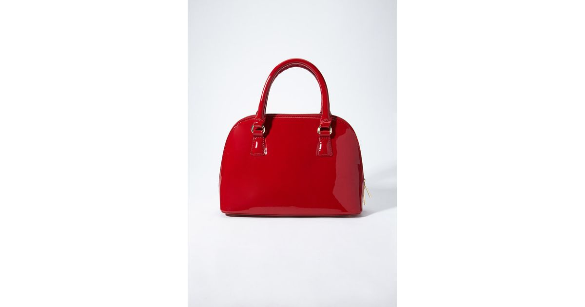 Lyst - Forever 21 Faux Patent Leather Bowler Bag in Red fec1af692e558