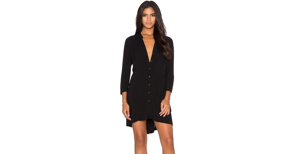 Bella luxx pleat back shirt dress in black lyst for Black pleated dress shirt