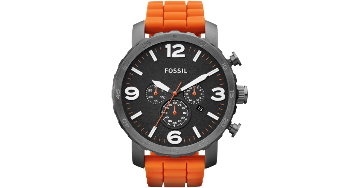 fossil mens chronograph nate orange silicone strap watch 50mm fossil mens chronograph nate orange silicone strap watch 50mm first macys in orange for men lyst