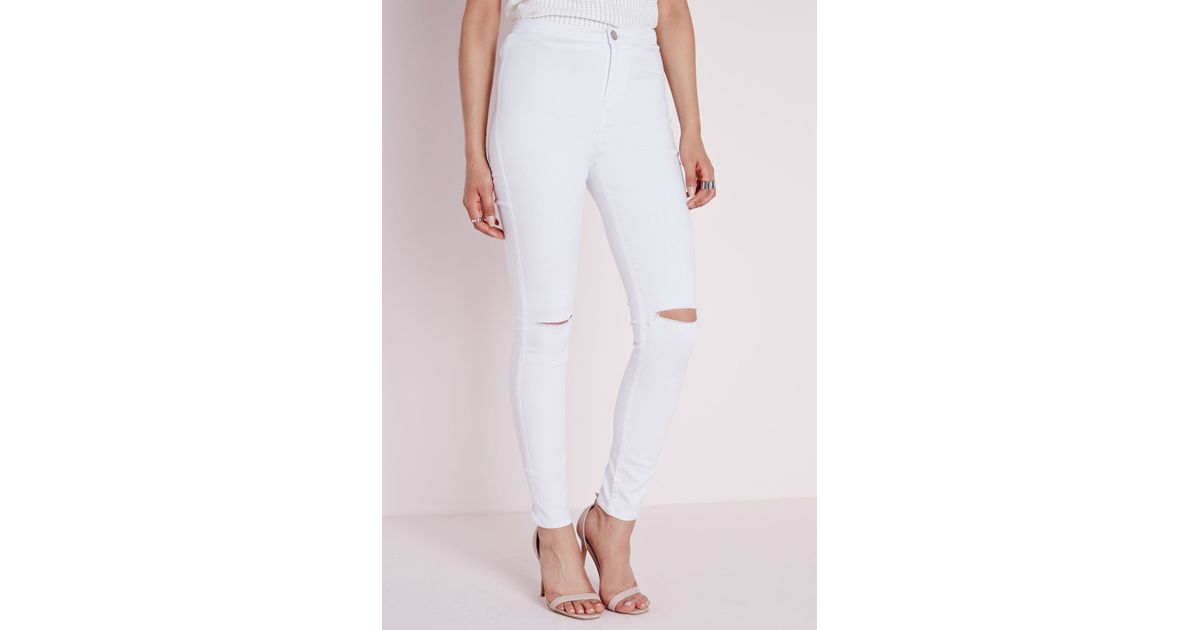 Missguided High Waist Ripped Knee Skinny Jeans White in White | Lyst