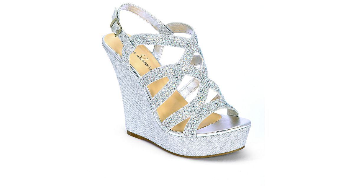 Belle By Badgley Mischka Nonie Metallic Embellished Wedge