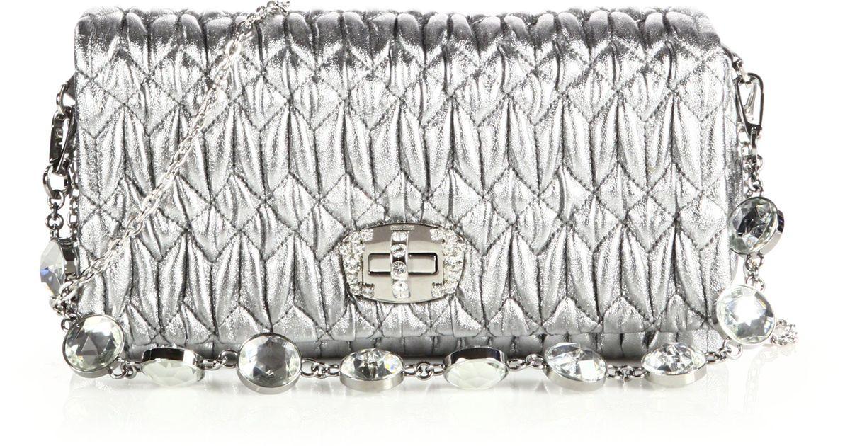 f2e0104a391 Lyst - Miu Miu Crystal Small Metallic Leather Matelass Eacute  Shoulder Bag  in Metallic