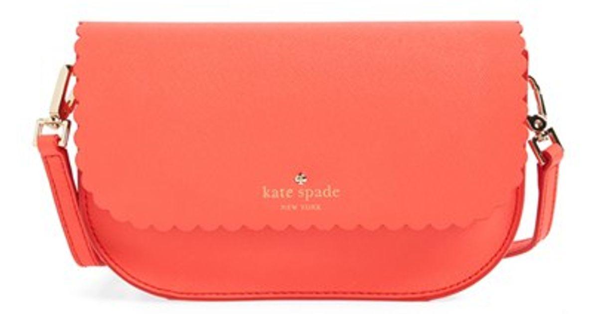 d10617e1adf2 Lyst - Kate Spade  cape Drive - Jettie  Scalloped Leather Crossbody Bag in  Orange