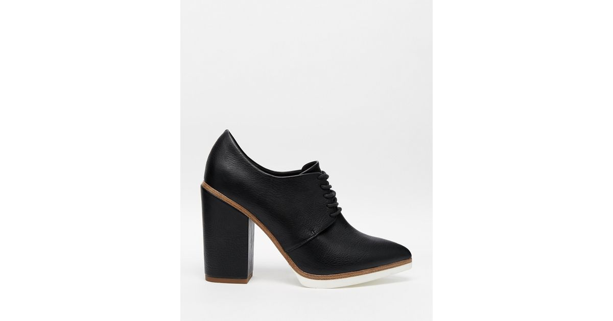 ebdb114ee5ae Lyst - ASOS On A Roll Lace Up Heeled Shoes in Black