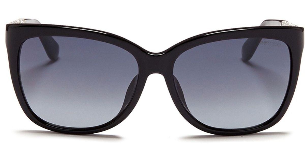6458c771a90f Lyst - Jimmy Choo  Cora  Glitter Temple Acetate Sunglasses in Black