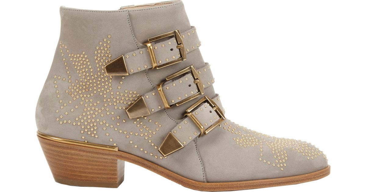 lyst chlo susanna suede ankle boots in gray. Black Bedroom Furniture Sets. Home Design Ideas