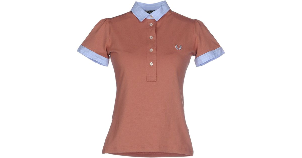 Fred perry polo shirt in brown light brown lyst for Light brown polo shirt