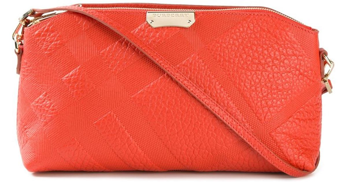 93bced4d614 Lyst - Burberry Chichester Small Leather Cross-Body Bag in Orange