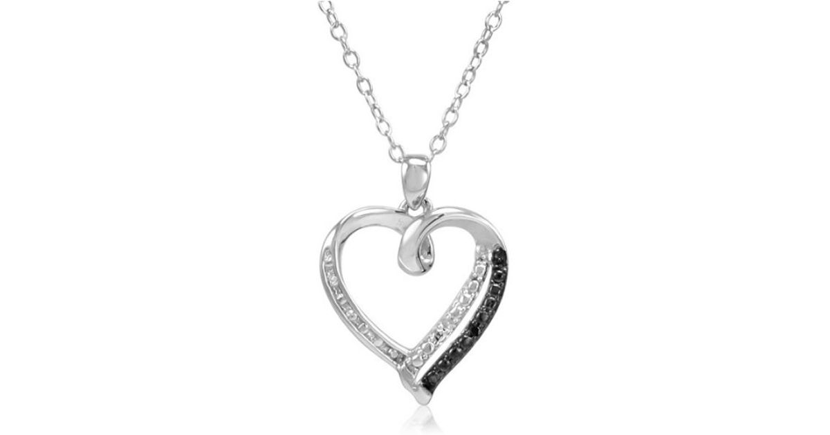 Amanda rose collection Sterling Silver Black And White Diamond Heart Pendant