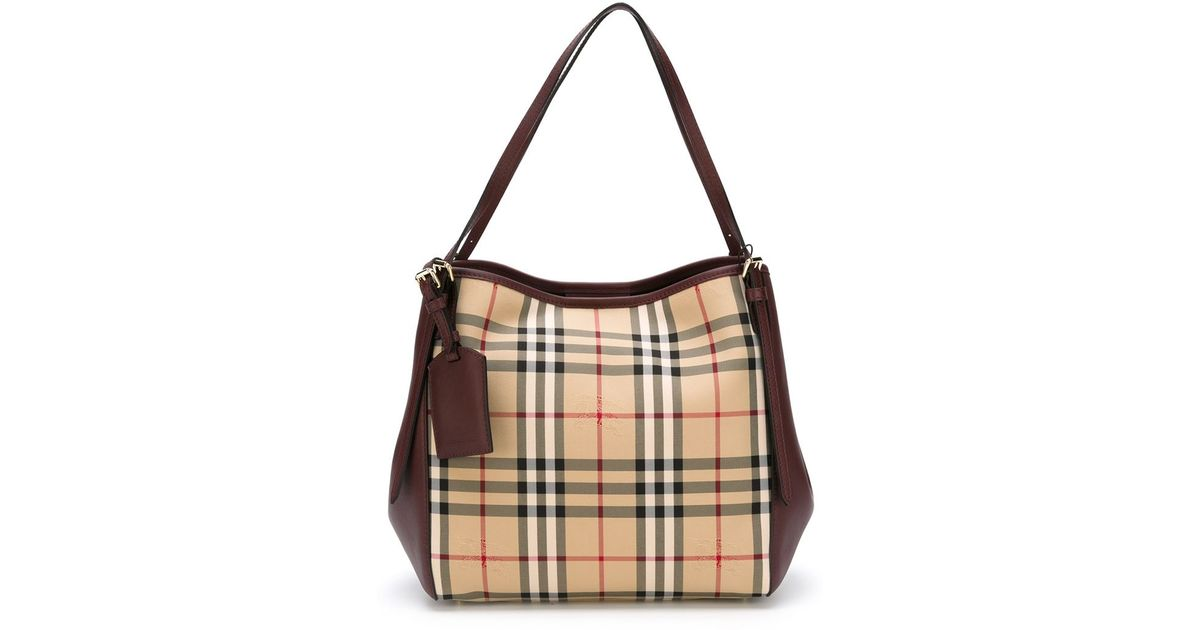 25d97fac8a6e Lyst - Burberry Small  canter In Horseferry Check  Tote Bag in Natural