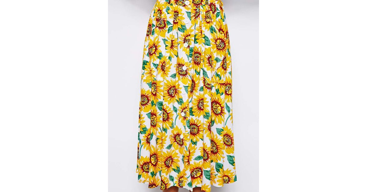 1a72c21a1c06 American Apparel Sunflower Maxi Skirt - Lyst