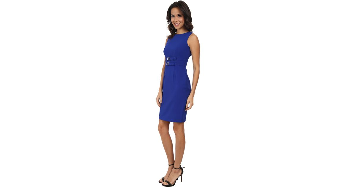 4c1c1de3add Calvin Klein Double Buckle Dress Cd5X16L7 in Blue - Lyst