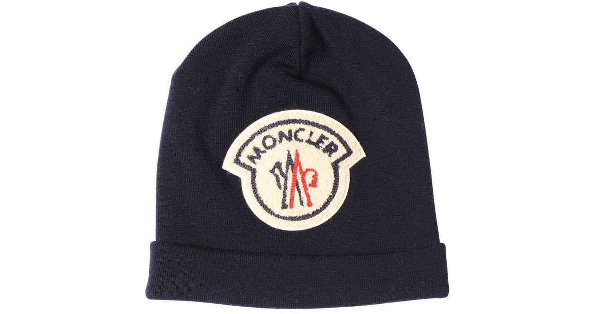 Moncler Ami Logo Patch On Wool Beanie Hat in Blue for Men - Lyst aea89e92e5f