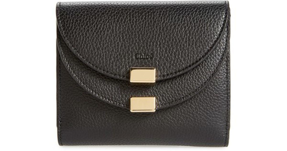chloe tan leather long georgia wallet