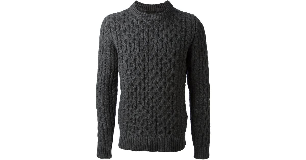 58e10c9d91 Lyst - Diesel Black Gold Cable Knit Sweater in Gray for Men