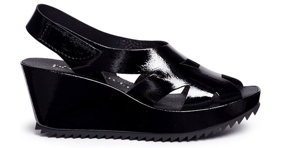 pedro garcia fernanda patent leather platform sandals in