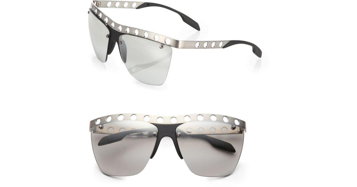 c84984d1c59 Lyst - Prada 62 Mm Perforated Rimless Sunglasses in Metallic for Men