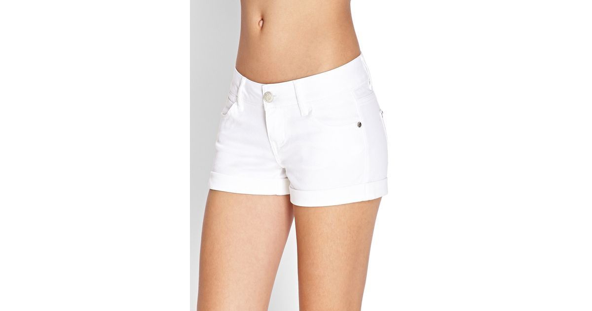 Forever 21 Stretch Cuffed Denim Shorts in White | Lyst