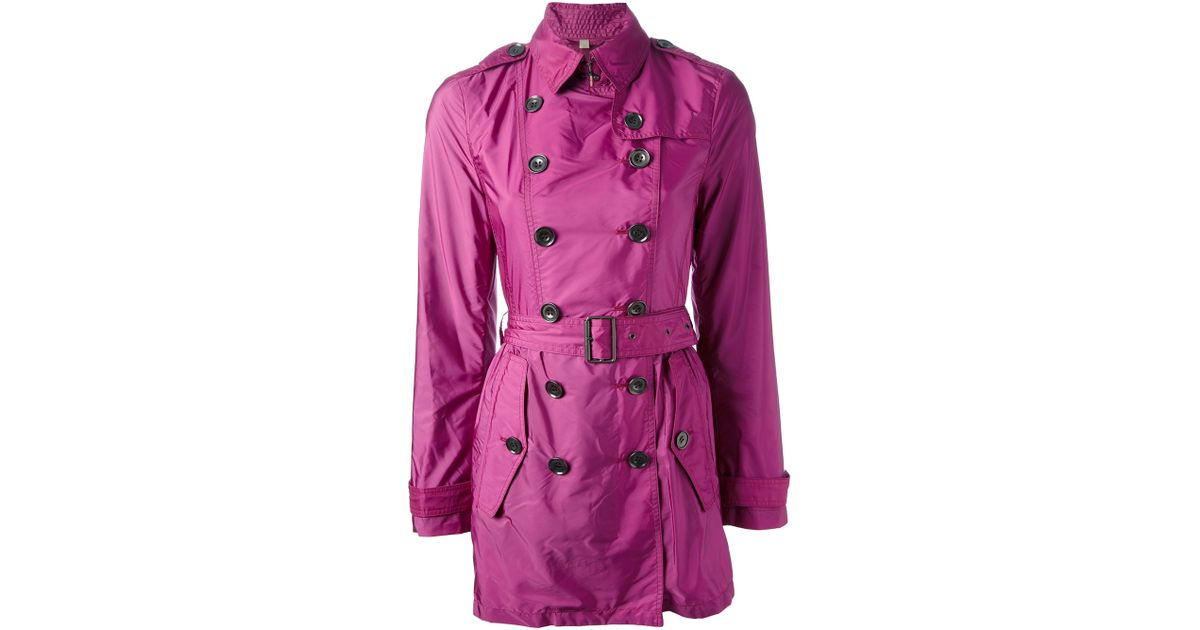 Burberry brit Double Breasted Trench Coat in Purple | Lyst