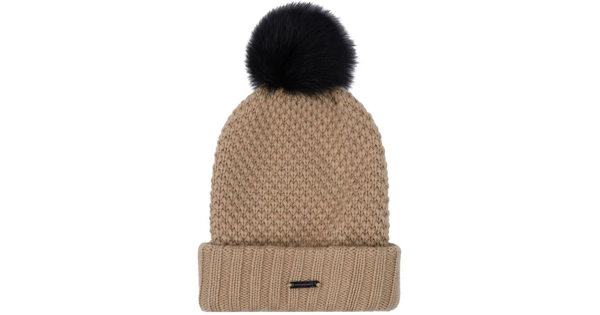 Burberry Fur Pom-Pom Wool Cashmere Beanie Hat in Natural - Lyst 832390b9228