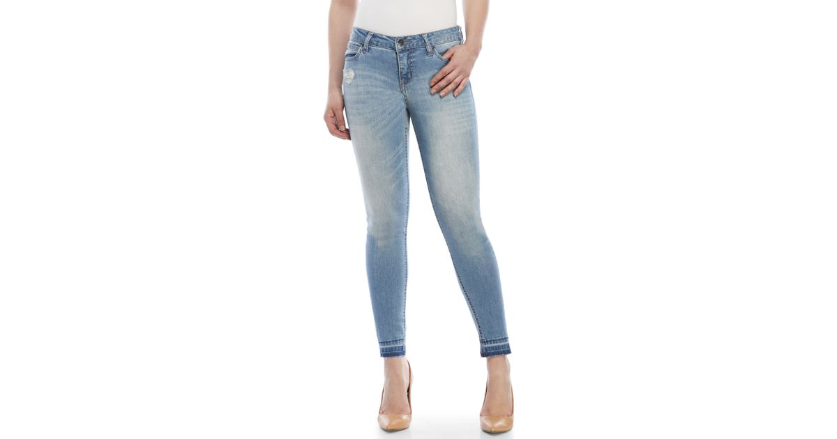 celebrity pink ankle skinny jeans in blue light wash lyst