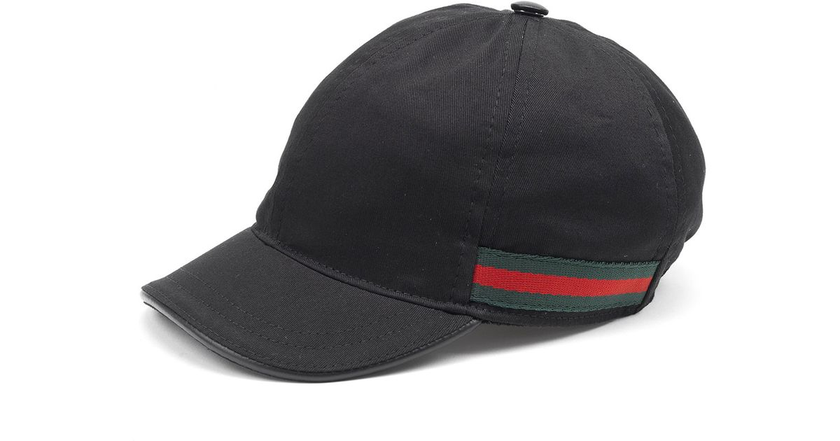 Lyst - Gucci Cotton Baseball Cap in Black for Men bef50a2ad59