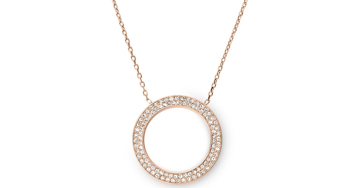 brilliance asp crystal michael sell kors buy pendant rose clear discounted disc necklace pave gold