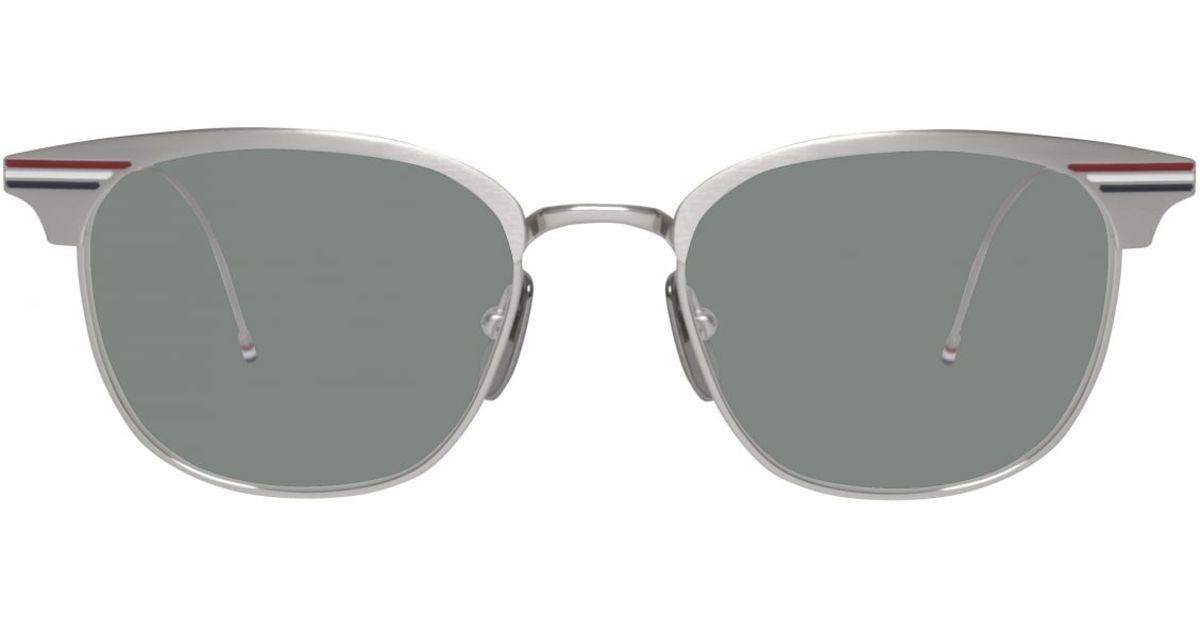 01086fc323 Thom browne Satin Silver Sunglasses in Metallic for Men