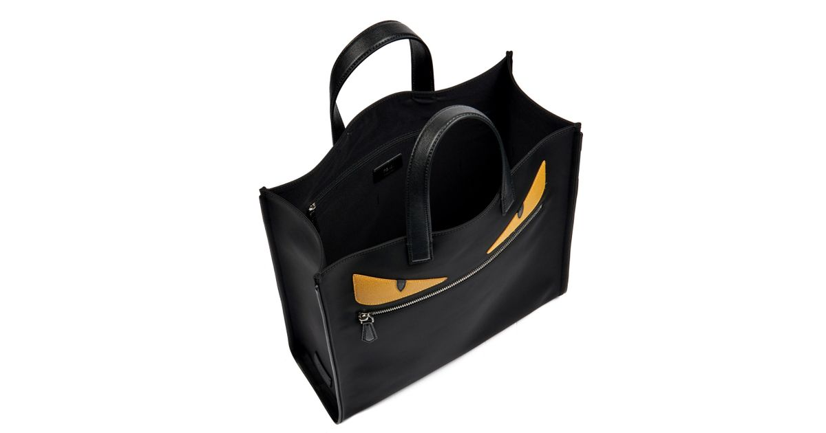 4c95f69110f3 Lyst - Fendi Bag Bugs Leather And Nylon Tote in Black for Men