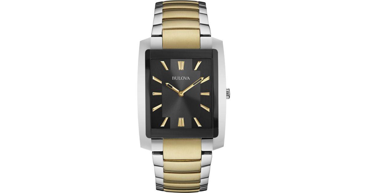 Bulova Men S Two Tone Stainless Steel Bracelet Watch