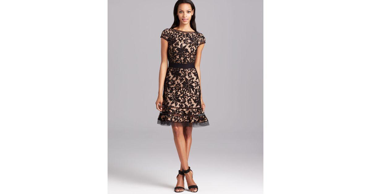 6fa113b97f9a Lyst - Tadashi Shoji Cap Sleeve Horsewire Lace Dress in Black