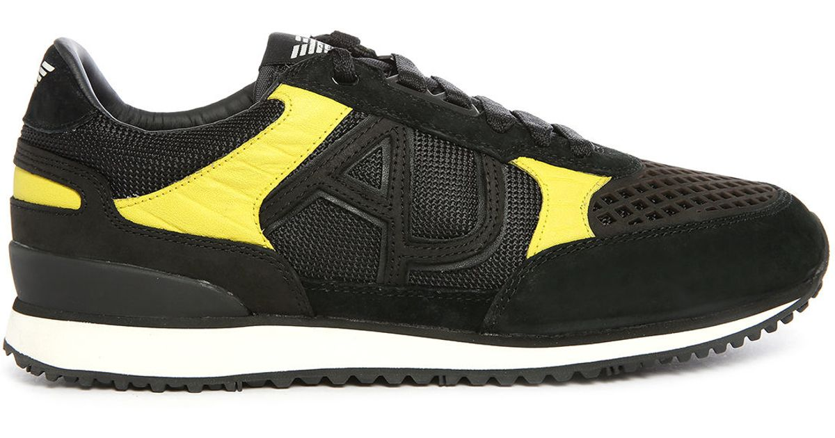 11aeee8c0b13 Armani jeans Black yellow Aj Logo Pr Mesh Running Shoes in .