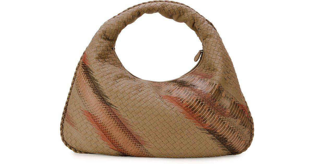 e71980b303 Lyst - Bottega Veneta Large Veneta Shadow-embroidered Snakeskin Hobo Bag