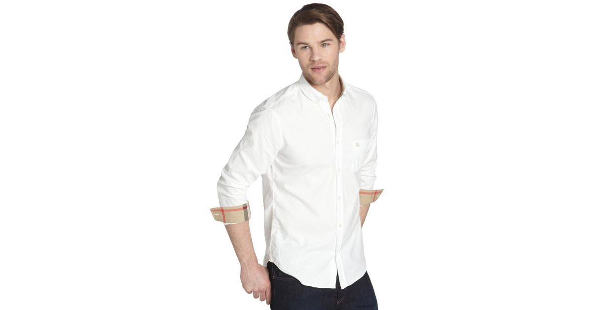 Burberry Brit White Cotton Button Down Long Sleeve Shirt in White ...