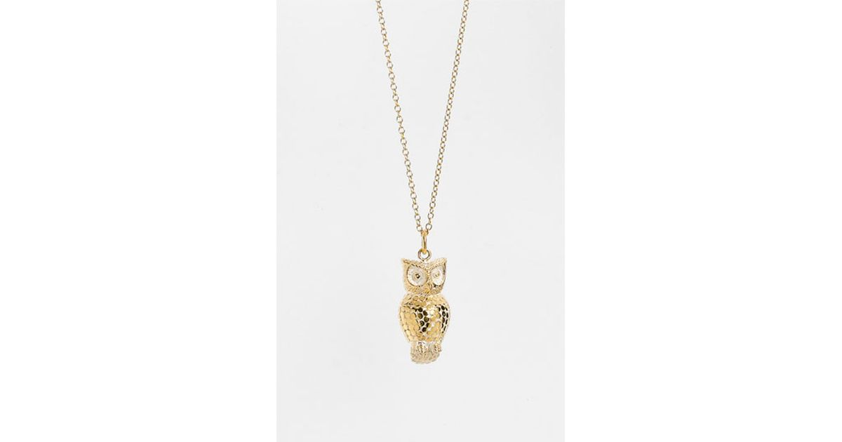 beck animals owl pendant necklace in gold