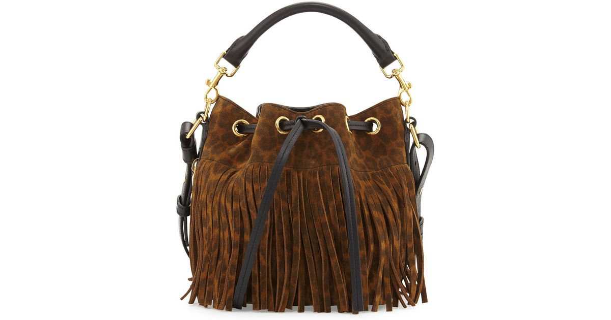 4b43316c7947 Lyst - Saint Laurent Emmanuelle Suede Leopard-Print Fringe Bucket Bag in  Black
