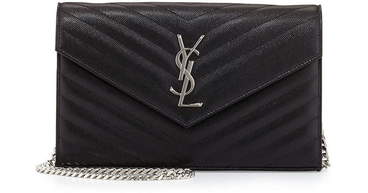 ysl shopping tote - monogram saint laurent chain wallet in black grain de poudre ...