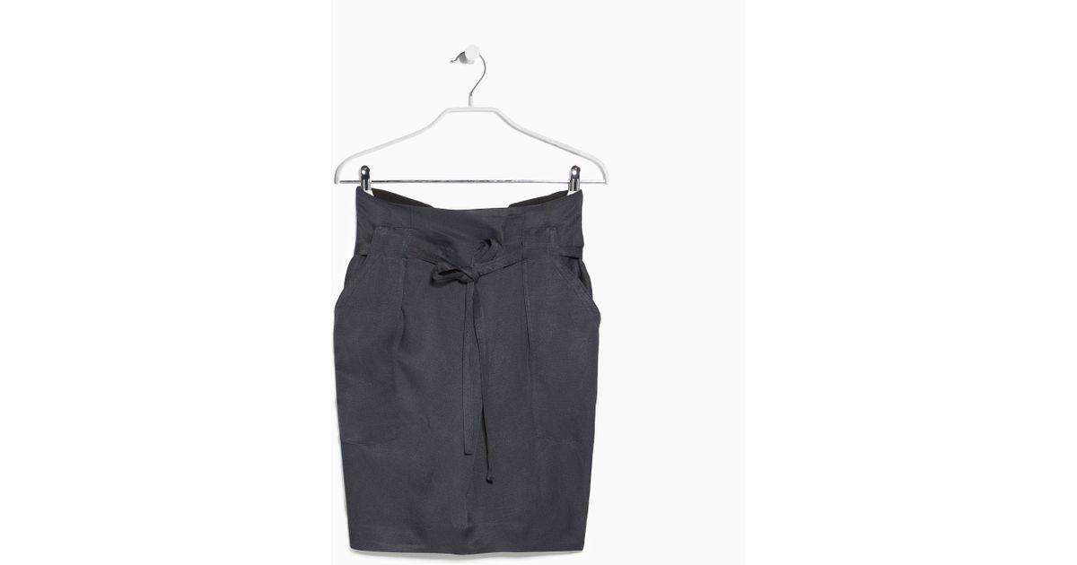 b484e4824cb Lyst - Mango Premium - Linen-Blend Bow Skirt in Gray