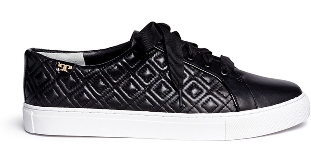 4051ff12acc Lyst - Tory Burch  marion  Quilted Leather Sneakers in Black