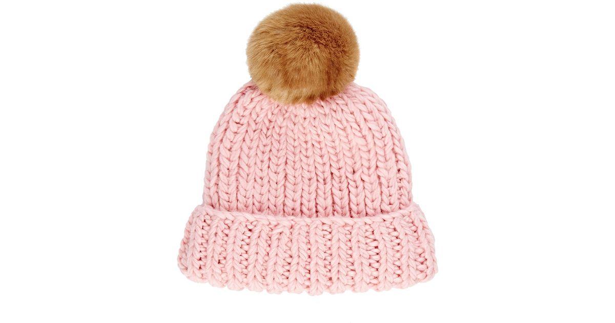 2e9a37511 Barneys New York - Pink Women's Rib-knit Beanie - Lyst