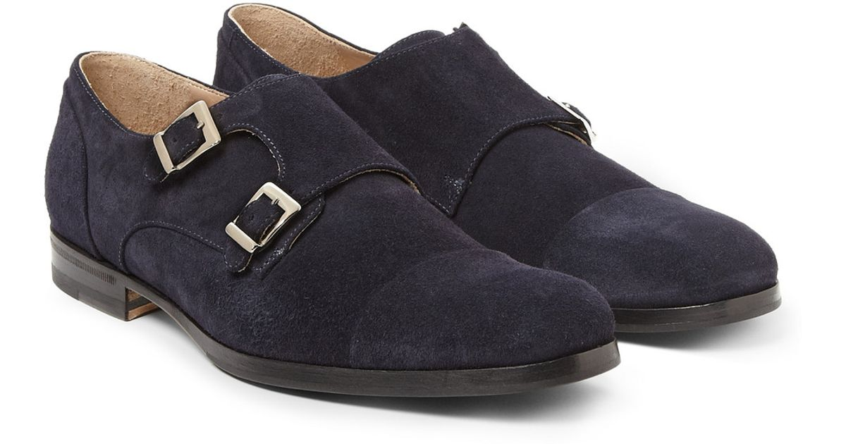 284383dd1a69 Lyst - Mr. Hare Suede Double Monkstrap Shoes in Blue for Men