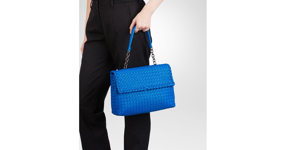 Lyst - Bottega Veneta Signal Blue Intrecciato Nappa Olimpia Bag in Blue 4ae617a40ec93