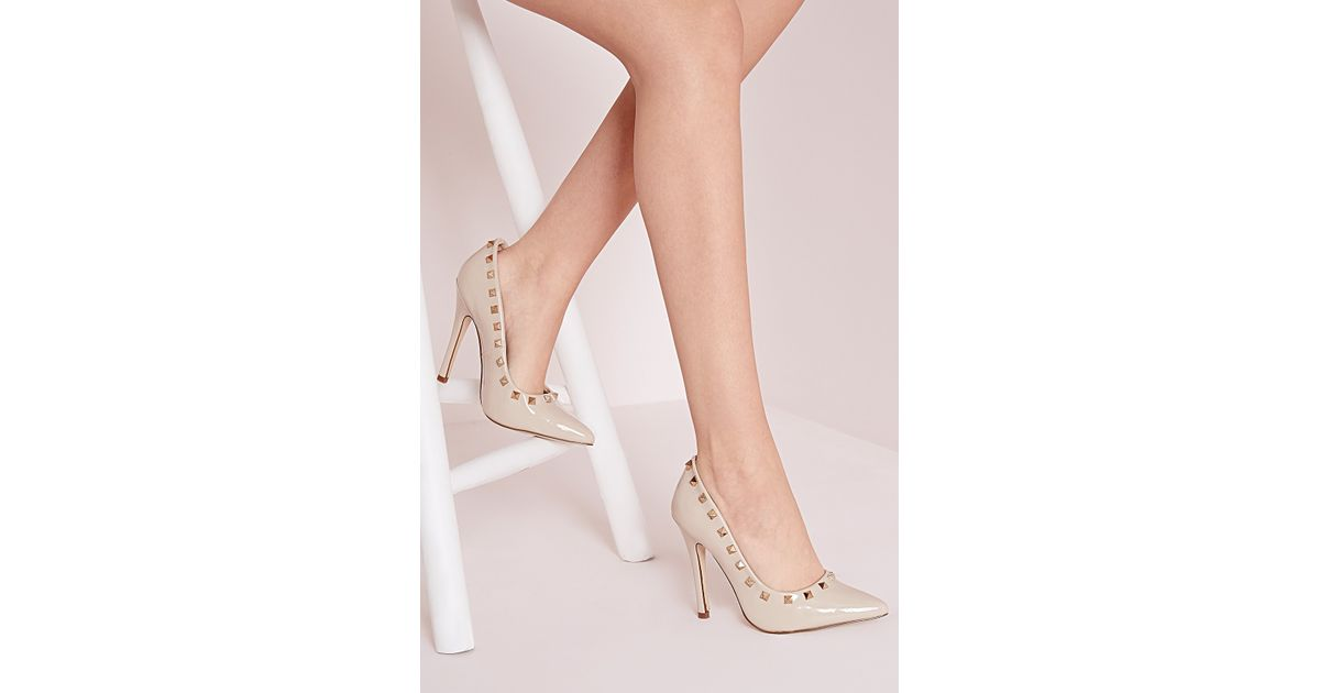 52108f14b50 Missguided - Natural Patent Studded Court Shoes Nude - Lyst