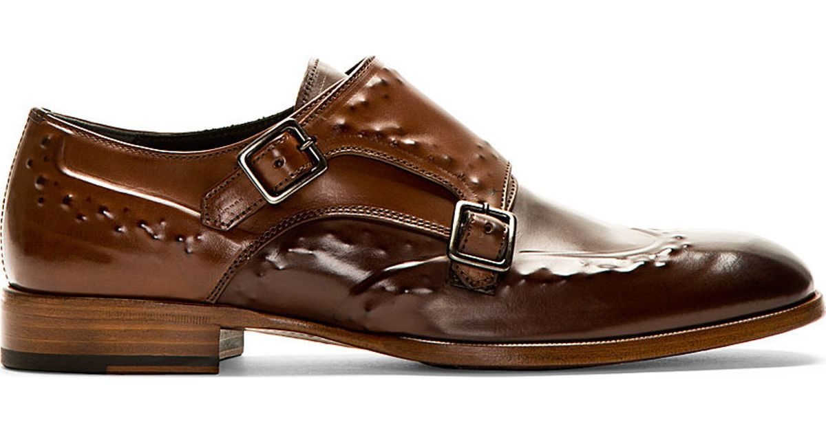 95358a44b0244 Lyst - Alexander McQueen Brown Studded Monk Strap Shoes in Brown for Men