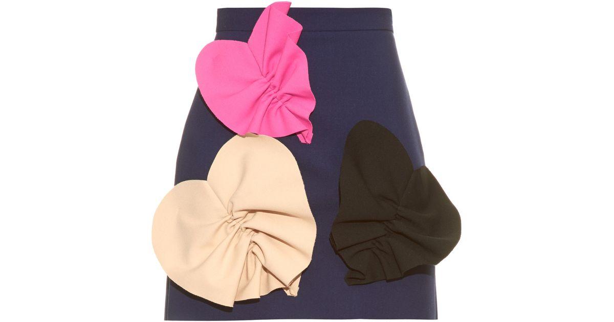 Lyst msgm oversized heart appliqué mini skirt