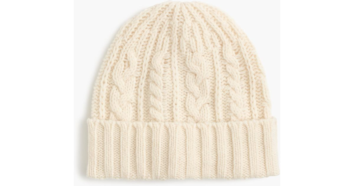 3c30d152aae Lyst - J.Crew Lambswool Cable-knit Hat in White