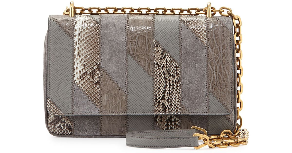 Prada Crocodile and Python Patchwork Shoulder Bag in Brown (LIGHT ...