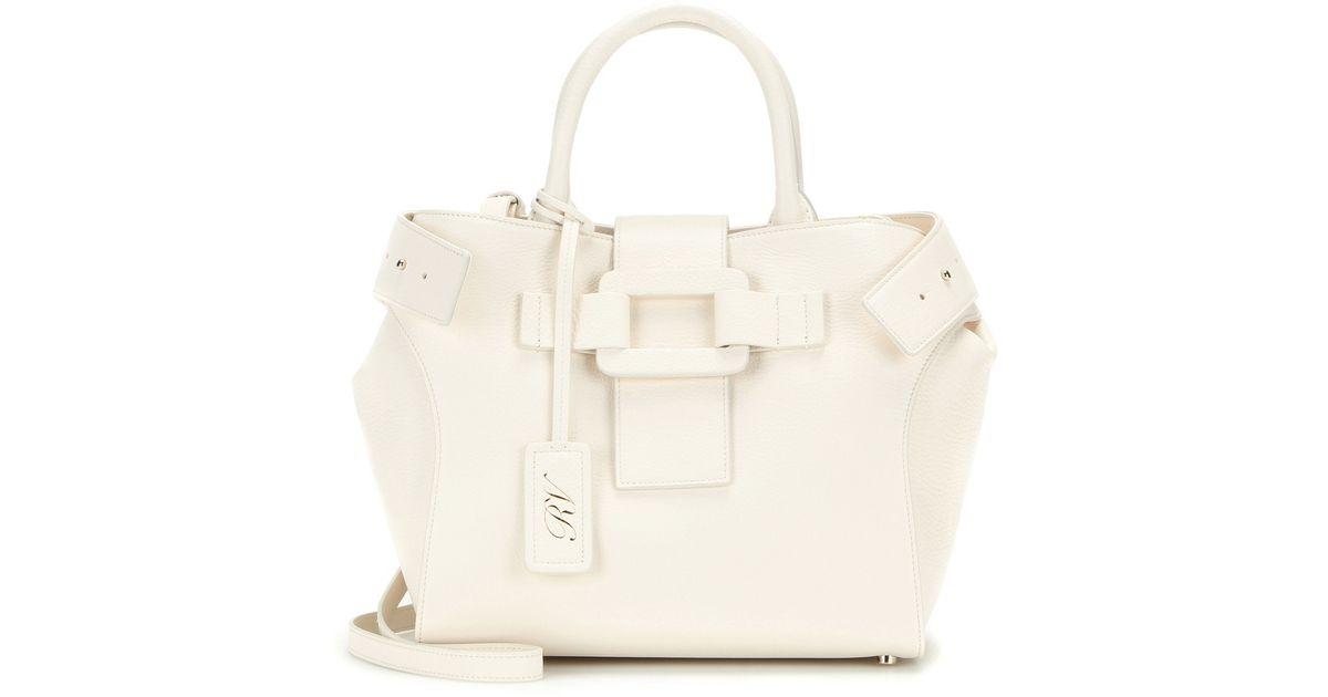 517921fc9e20 Lyst - Roger Vivier Pilgrim De Jour Small Leather Shoulder Bag in White