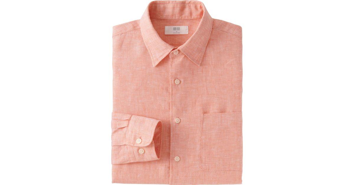 Uniqlo Men 39 S Premium Linen Long Sleeve Shirt In Orange For