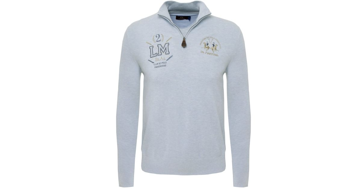 La martina Half Zip Logo Sweater in Blue for Men | Lyst